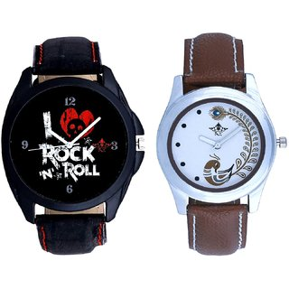 Luxury Rock N Roll Art And Brown Peacock Couple Analogue Watch By VB INTERNATIONAL
