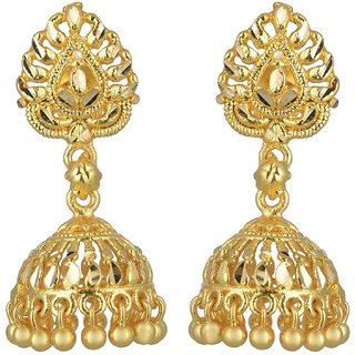 Jhumkis for Women ARAFA JEWELLERY Gold Plated Chandbali and Jumka Earrings