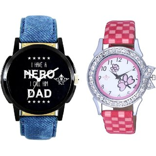 Super Dad Dial And Pink Flowers Couple Analogue Watch By VB INTERNATIONAL