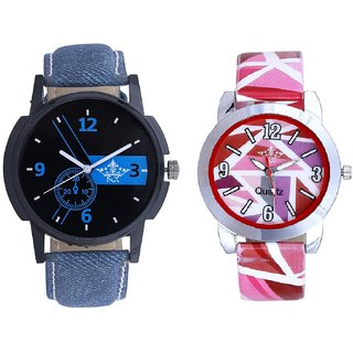 Blue -Black Art With Pink Sep Couple Analogue Wrist Watch By VB INTERNATIONAL