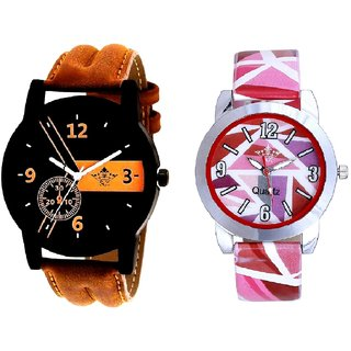 Brown -Black Designe With Pink Sep Couple Analogue Wrist Watch By VB INTERNATIONAL