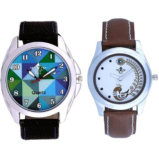 Sky Colour Art And Brown Peacock Couple Analogue Watch By VB INTERNATIONAL