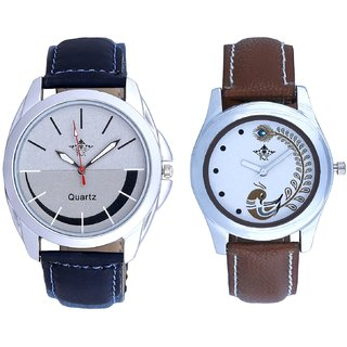 Smaile Silver Black Round Dial And Brown Peacock Couple Analogue Watch By VB INTERNATIONAL