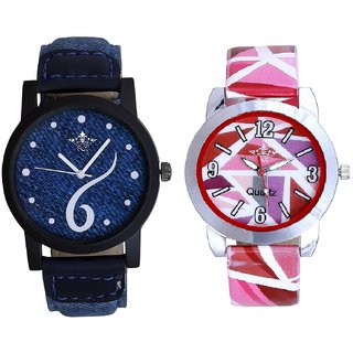 Blue Lather Design With Pink Sep Couple Analogue Wrist Watch By VB INTERNATIONAL