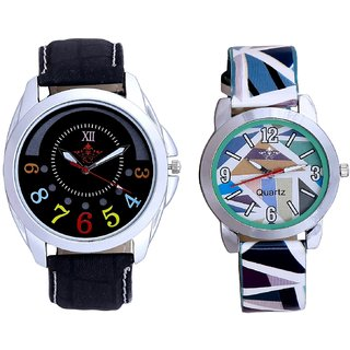Luxury Black Strap With Sky Blue Sep Couple Analogue Wrist Watch By VB INTERNATIONAL