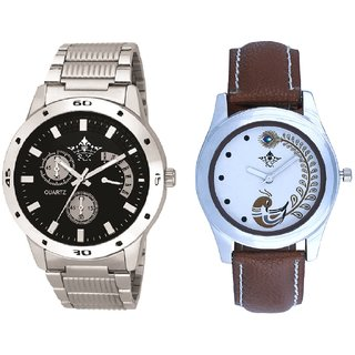 Classical Black Dial Metal Belt And Brown Peacock Couple Analogue Watch By VB INTERNATIONAL