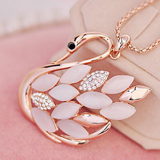 High Gloss Gold Plated Opal Stone Crystal GooseSwan Pendant Necklace Long Chain