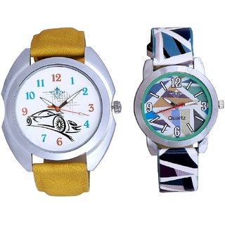 Fast Car With Sky Blue Sep Couple Analogue Wrist Watch By VB INTERNATIONAL