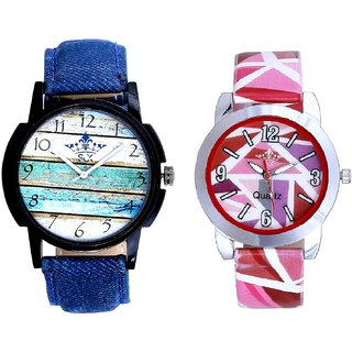 Spanish Art With Pink Sep Couple Analogue Wrist Watch By VB INTERNATIONAL