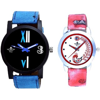 Luxury Blue Leather Strap With Red More Couple Analogue Wrist Watch By VB INTERNATIONAL