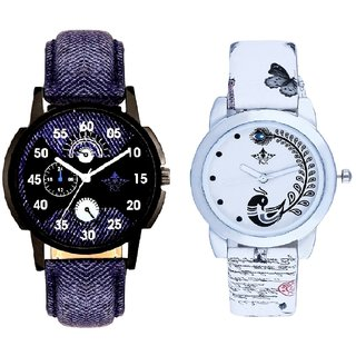 Blue Cronograph Pattern With White More Couple Analogue Wrist Watch By VB INTERNATIONAL
