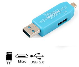 Pinnaclz OTG Adapter for Pen Drive and Micro SD Card (Assorted Colour)