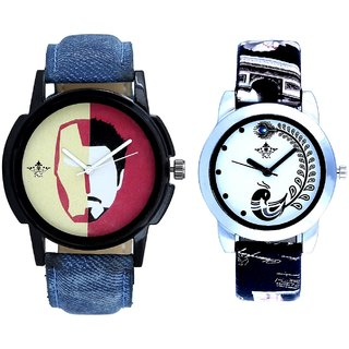 Half Man With Black More Couple Analogue Wrist Watch By VB INTERNATIONAL