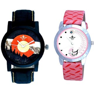 Green Mount Themes With Pink More Couple Analoge Wrist Watch By VB INTERNATIONAL