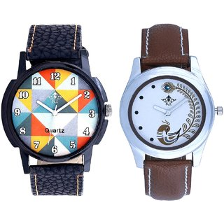 Special Hexa Art Colour With Brown More Couple Analogue Wrist Watch By VB INTERNATIONAL