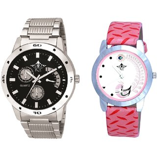Fancy Metal Belt With Pink More Couple Analoge Wrist Watch By VB INTERNATIONAL