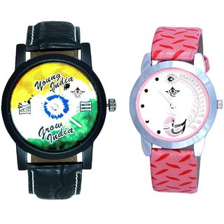 Black Dial Multi Dial With Pink More Couple Analoge Wrist Watch By VB INTERNATIONAL