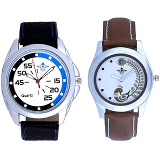 Blue-Black Chen With Brown More Couple Analogue Wrist Watch By VB INTERNATIONAL