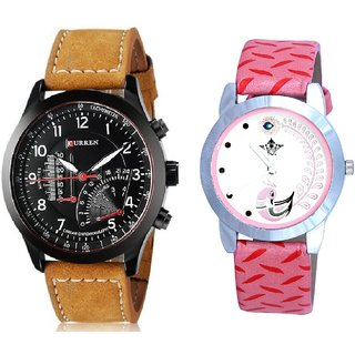 Curren Brown Leather Strap With Pink More Couple Analoge Wrist Watch By VB INTERNATIONAL