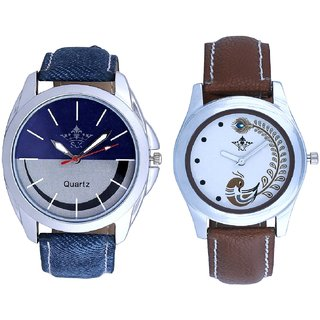 Silver-Blue Dial With Brown More Couple Analogue Wrist Watch By VB INTERNATIONAL