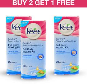 Veet Cold Wax Strips (Sensitive) - Buy 2 Get 1 Free