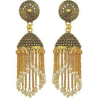 Jhumkis for Women ARAFA JEWELLERY Gold Plated Chandbali and Jumka Earrings