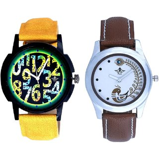 Yellow-Green Design With Brown More Couple Analogue Wrist Watch By VB INTERNATIONAL
