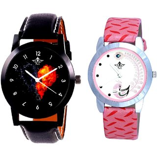 Heart Black Dial With Pink More Couple Analoge Wrist Watch By VB INTERNATIONAL