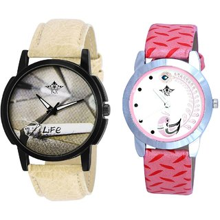 Love Life Dial With Pink More Couple Analoge Wrist Watch By VB INTERNATIONAL