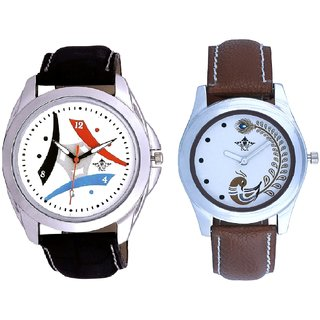 White Dial Tri Fan With Brown More Couple Analogue Wrist Watch By VB INTERNATIONAL