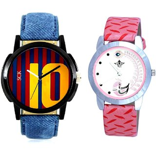 Number 10 Dial With Pink More Couple Analoge Wrist Watch By VB INTERNATIONAL