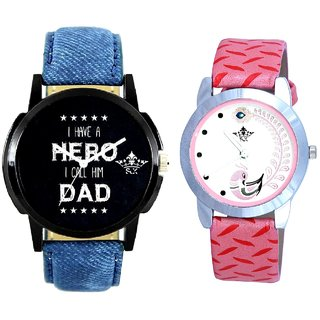 Always Hero Of My Life With Pink More Couple Analoge Wrist Watch By VB INTERNATIONAL