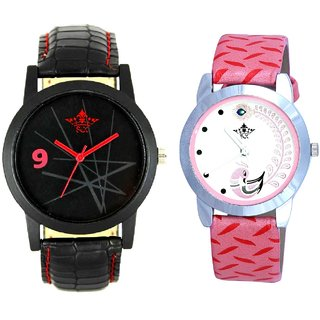 Star Black Dial With Pink More Couple Analoge Wrist Watch By VB INTERNATIONAL