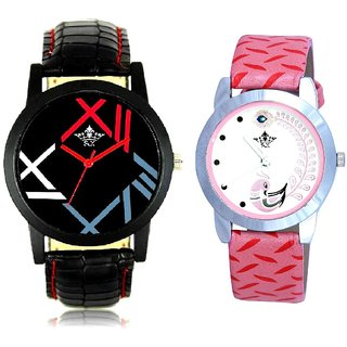 Awosome Roman Art With Pink More Couple Analoge Wrist Watch By VB INTERNATIONAL