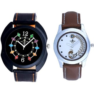 3D Chain With Brown More Couple Analogue Wrist Watch By VB INTERNATIONAL