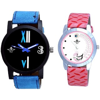 Luxury Blue Leather Strap With Pink More Couple Analoge Wrist Watch By VB INTERNATIONAL