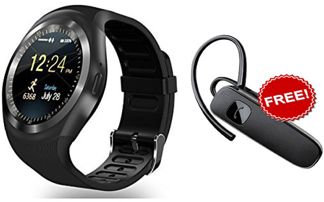 smartwatch with sim bluetooth y1 smart watch wristwatch phone for high  quality calling apps + Bluetooth Handfree Combo