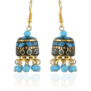 CHICAS Blue Color Mosaic And Brass Work Dangle & Drop Fashion Earrings For Women & Girls
