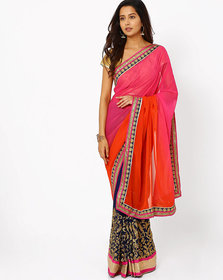 Orange With Pink Georgette Embroidered Saree With Blouse