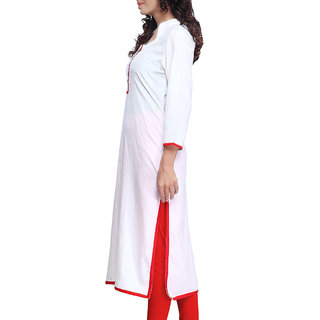 Meia Red Plain Crepe Stitched Kurti