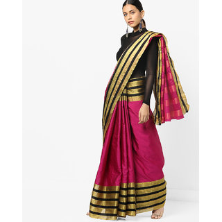 Pink Cotton Silk Printed Saree with Blouse