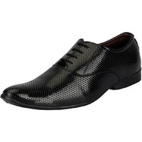 FAUSTO Men's Black Derby Lace-up Shoes