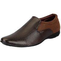 FAUSTO Men's Brown Smart Formals Slip On Shoes