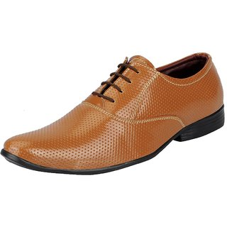 FAUSTO Mens Tan Derby Lace-up Shoes