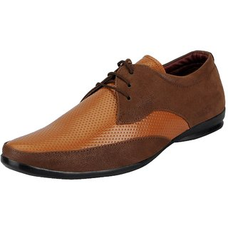 FAUSTO Mens Tan Oxfords Lace-up Shoes