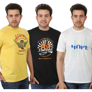 Combo Stylish Cotton Round Neck T-Shirt For Men's