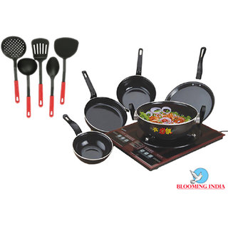 Cookware Set of 5 Aluminium Non Stick Black With 5 Multi Colour Karchhi