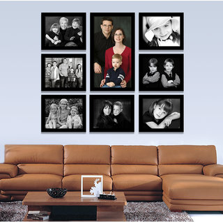 Elegant Arts and Frames Group 8-A Black Synthetic Wall Collage Photo Frames