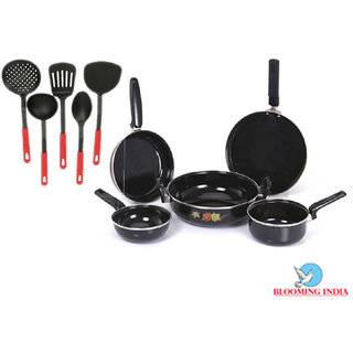 Cookware Set of 5 Aluminium With 5 Multi Colour Karchhi
