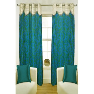 Enaakshi Set of 2 Floral Door Curtains with scallops, Blue